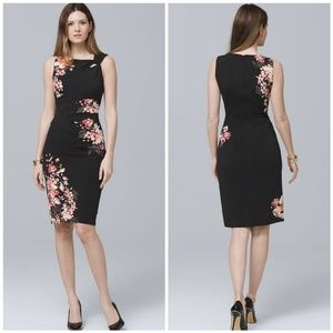 33f8d883 White House Black Market Dresses - WHBM Floral Twist Detail Knit Sheath  Dress 8P